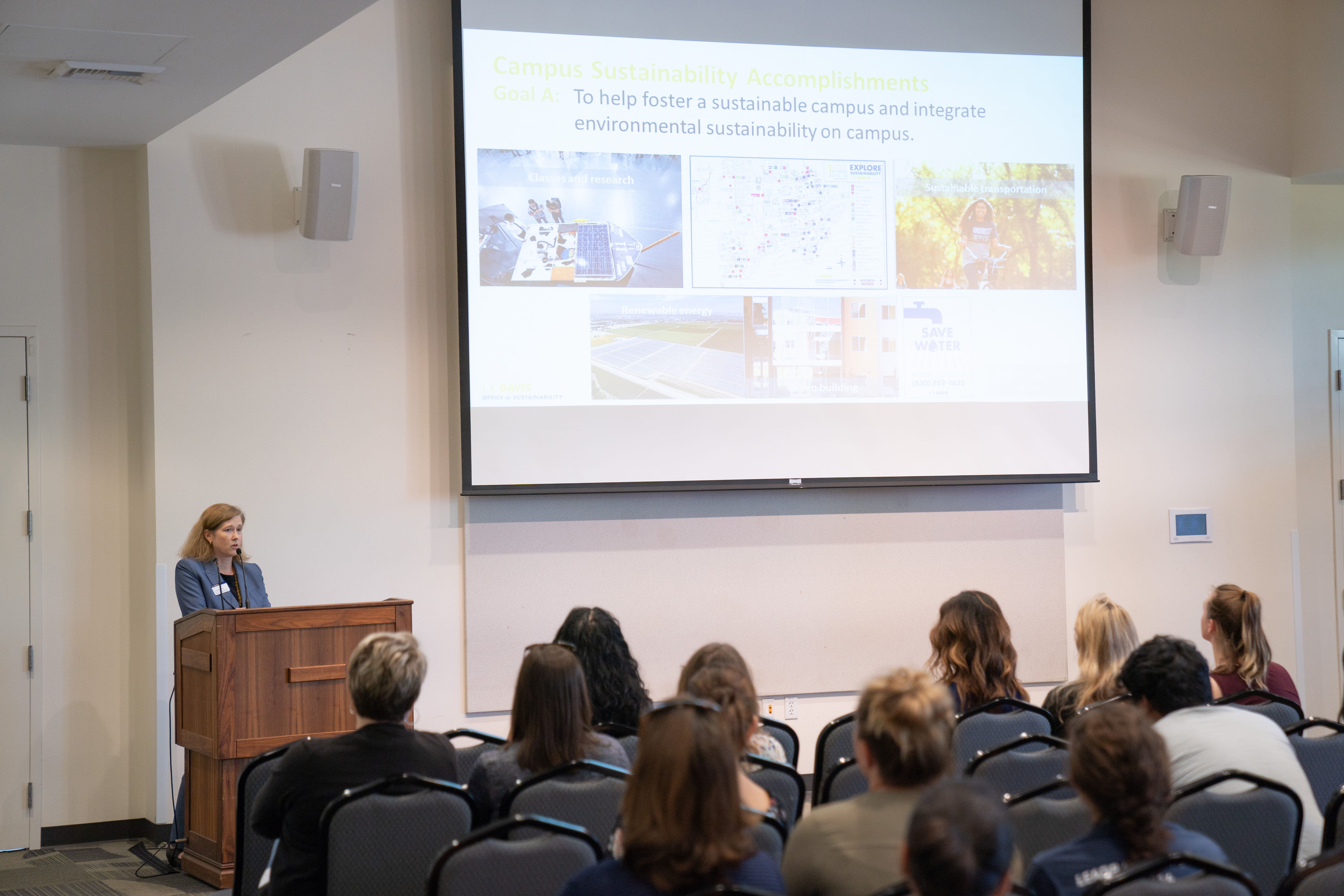 Image of Camille Kirk, director of the UC Davis Office of Sustainability, speaking at the 2019 Sustainability Summit.