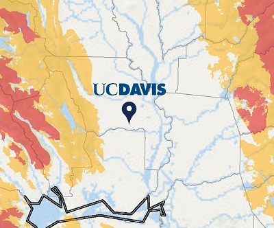 map showing fire threat surrounding UC Davis. Higher fire threats exist to the west and east of Davis.
