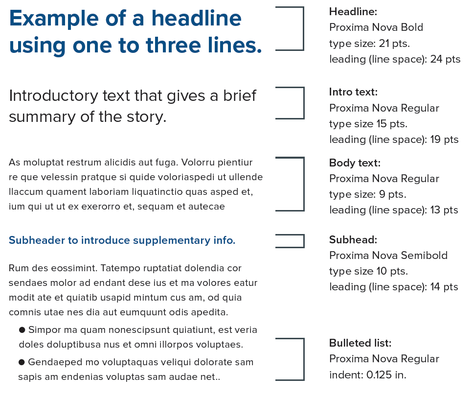 hierarchy of text treatments for print designs, with Proxima Nova font types, sizes and leading for headline, intro text, body text, subhead, bulleted list