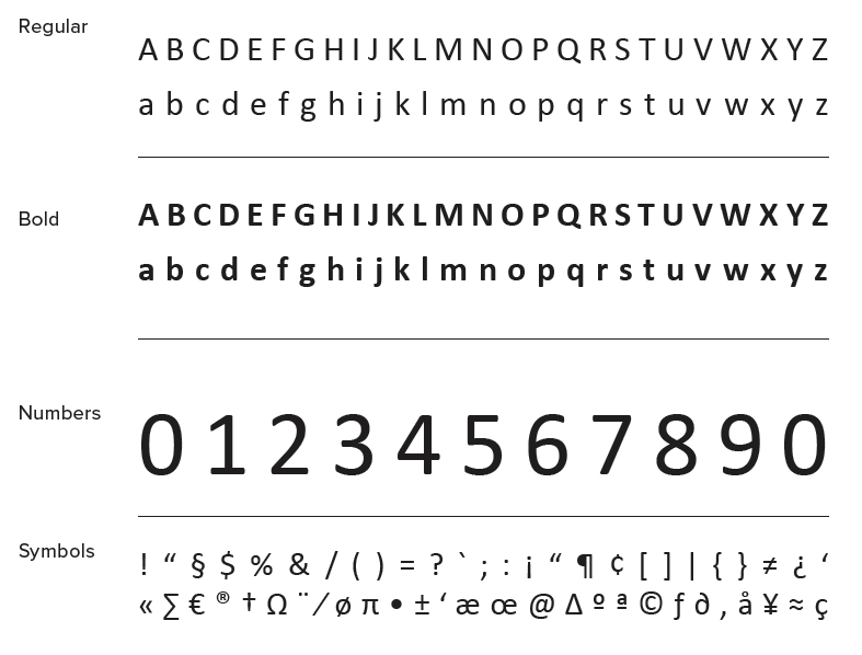 Alphabets using Calibri typeface - Regular, Bold, Numbers and Symbols