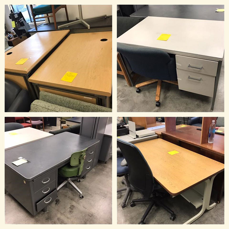 Photo of an assortment of desks for sale.