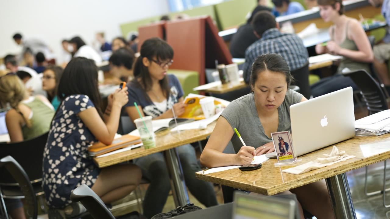 Photo of students in campus coffee house.