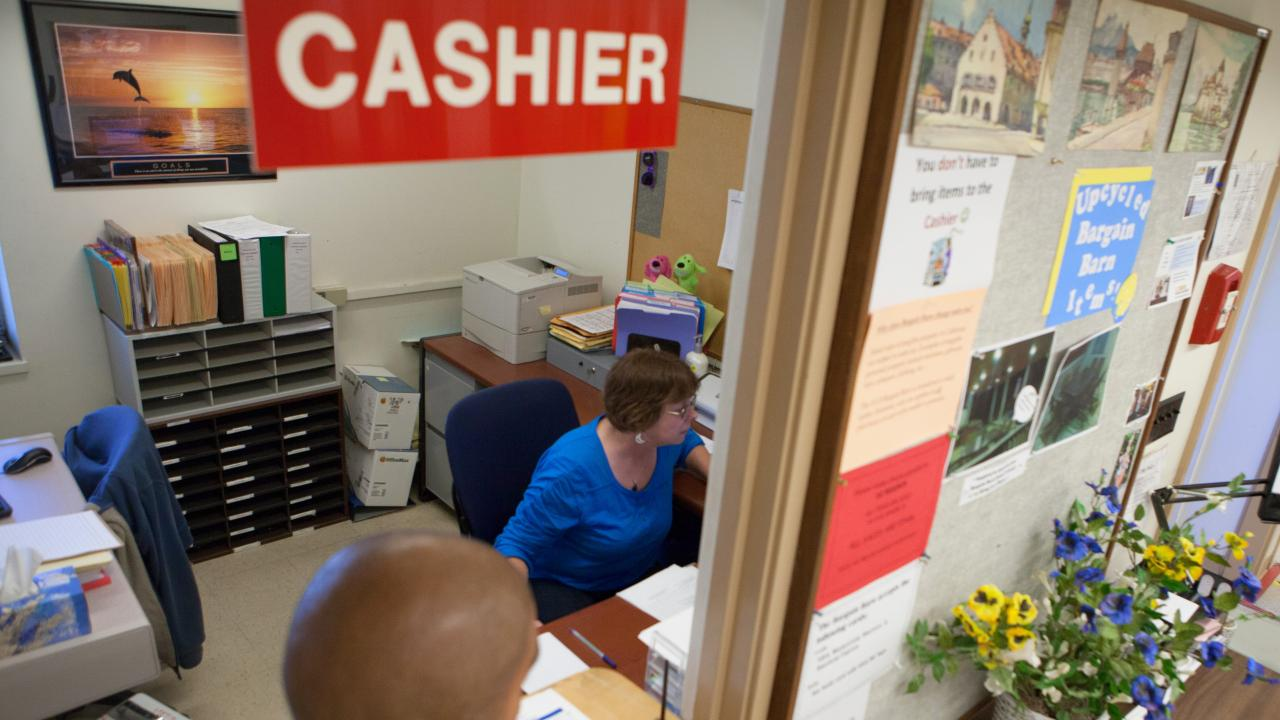 Photo of cashier window.
