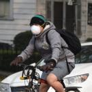 people wearing N-95 masks while riding bicycles in Davis Ca on a smoky day.