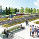Artist's rendering of road median.