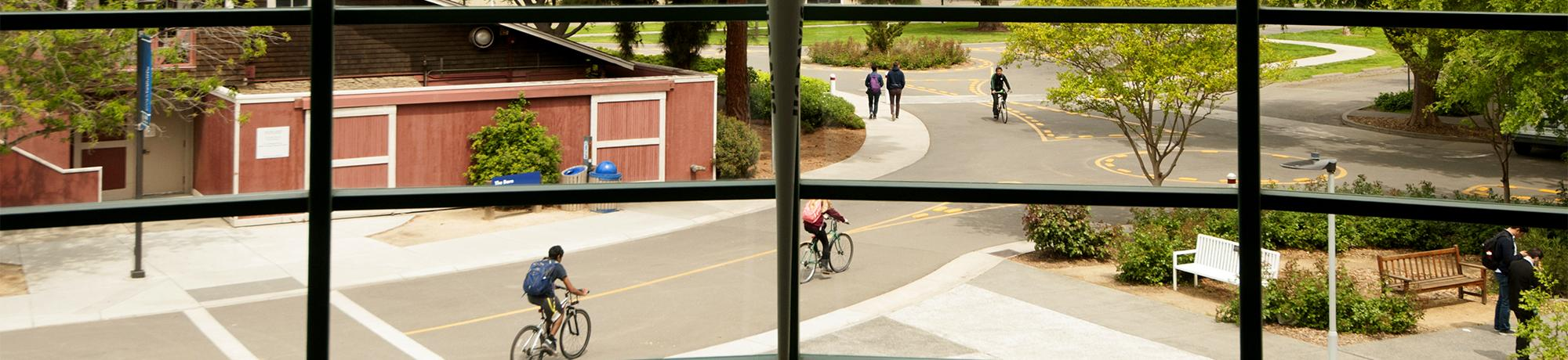 Students pass outside Kemper Hall, the engineering building,