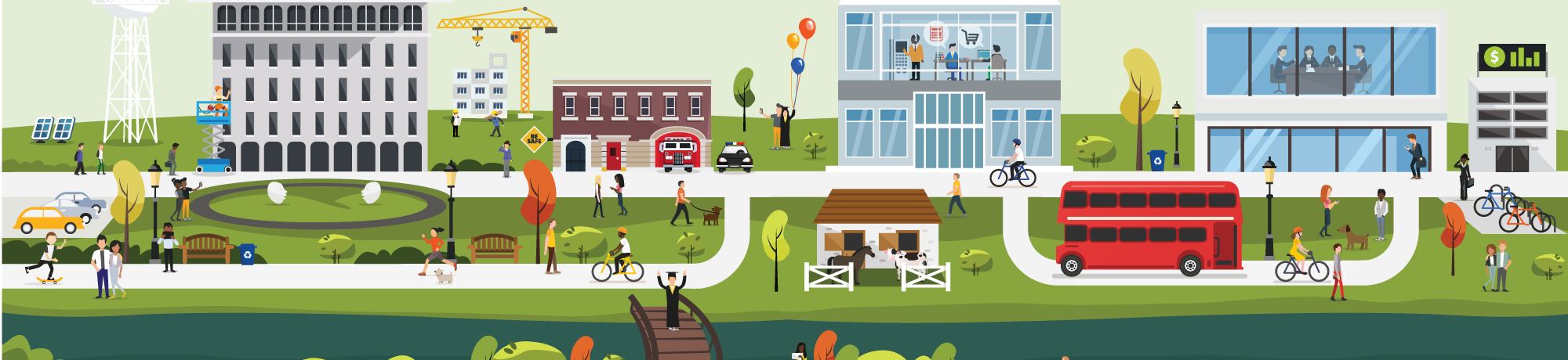 UC Davis FOA illustration shows a variety of campus buildings, infrastructure and types of workers